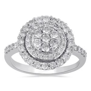 Brilliant Illusion Cluster Ring with 1.00ct of Diamonds in 9ct White Gold
