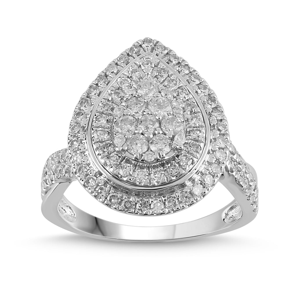 Triple Halo Pear Ring with 1.00ct of Diamonds in 9ct White Gold Rings Bevilles