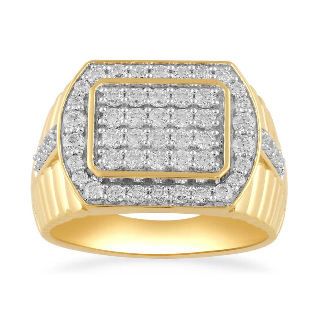 Tablet Shoulder Mens Ring with 1.50ct of Diamonds in 9ct White Gold Rings Bevilles
