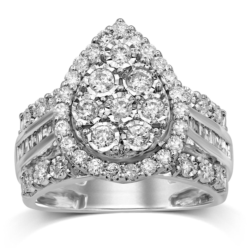 Pear Halo Ring with 1.00ct of Diamonds in 9ct White Gold Rings Bevilles