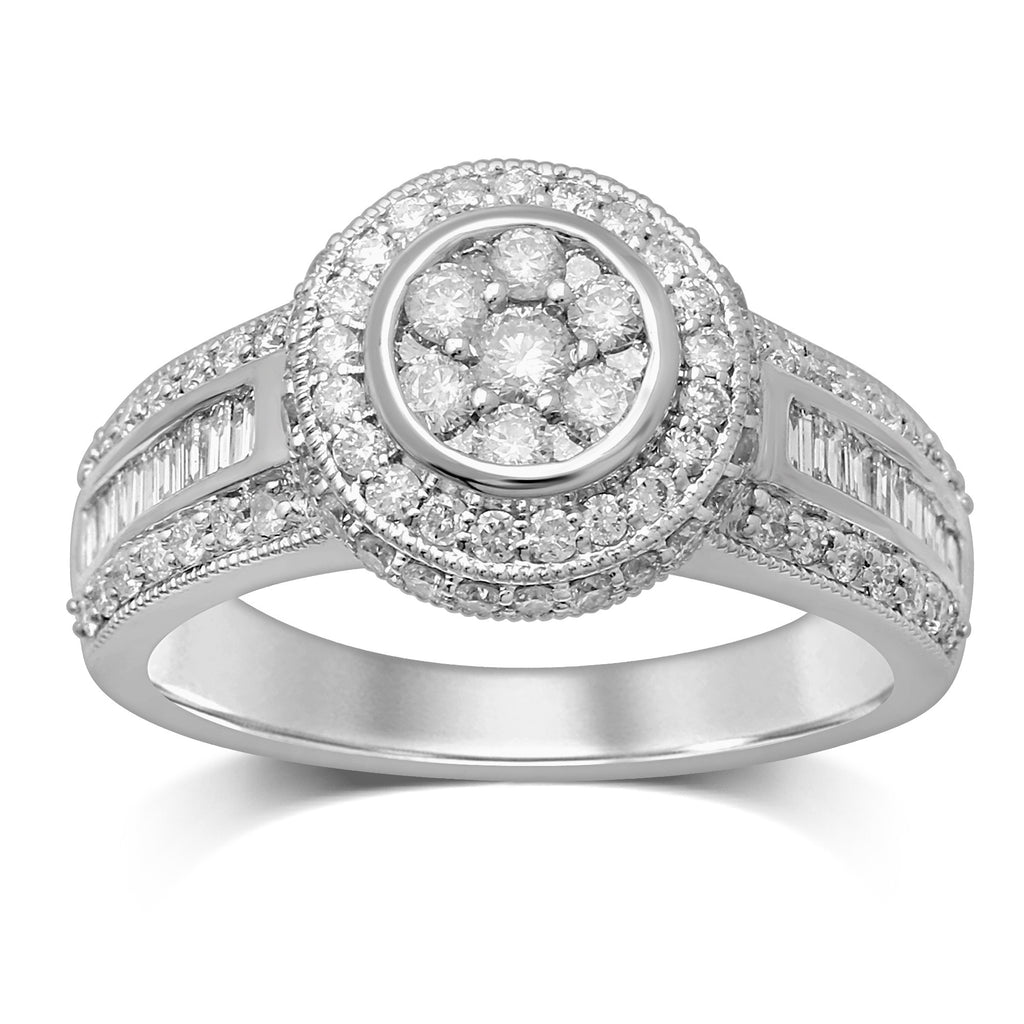 Halo Ring with 1.20ct of Diamonds in 9ct White Gold Rings Bevilles