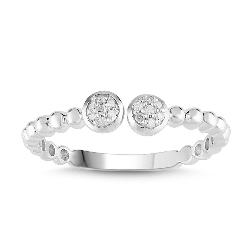 Open Bead Stackable Ring with 0.10ct of Diamonds in 9ct White Gold Rings Bevilles