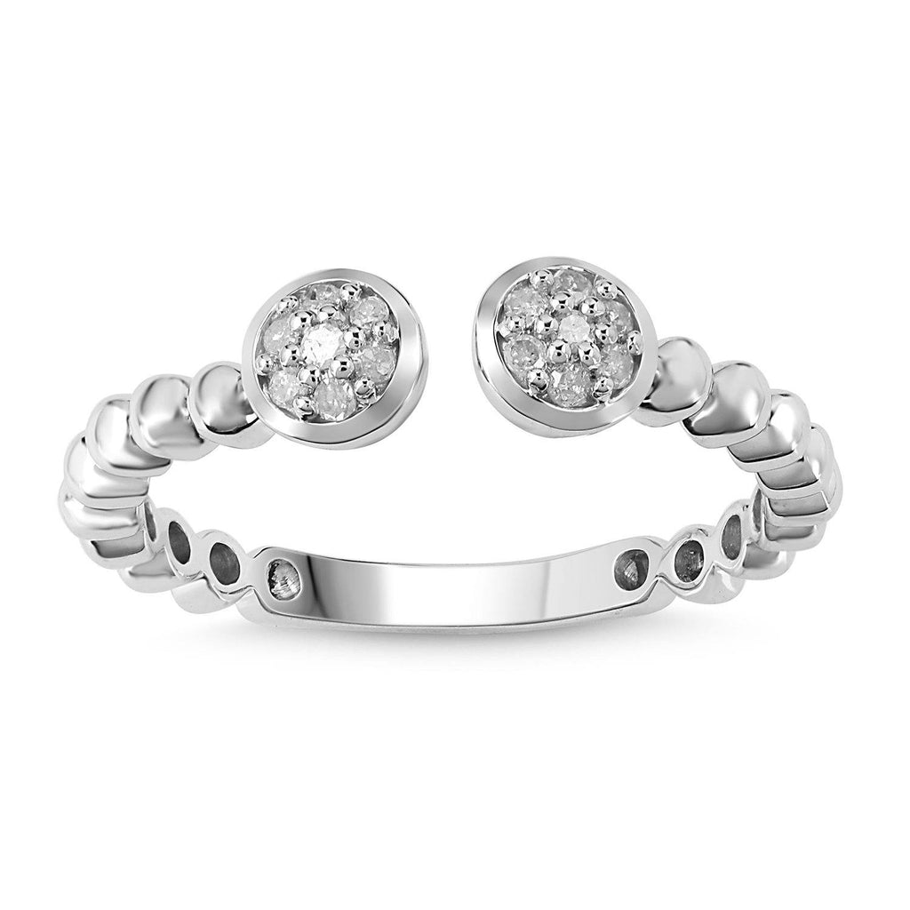 Open Bead Stackable Ring with 0.05ct of Diamonds in 9ct White Gold Rings Bevilles