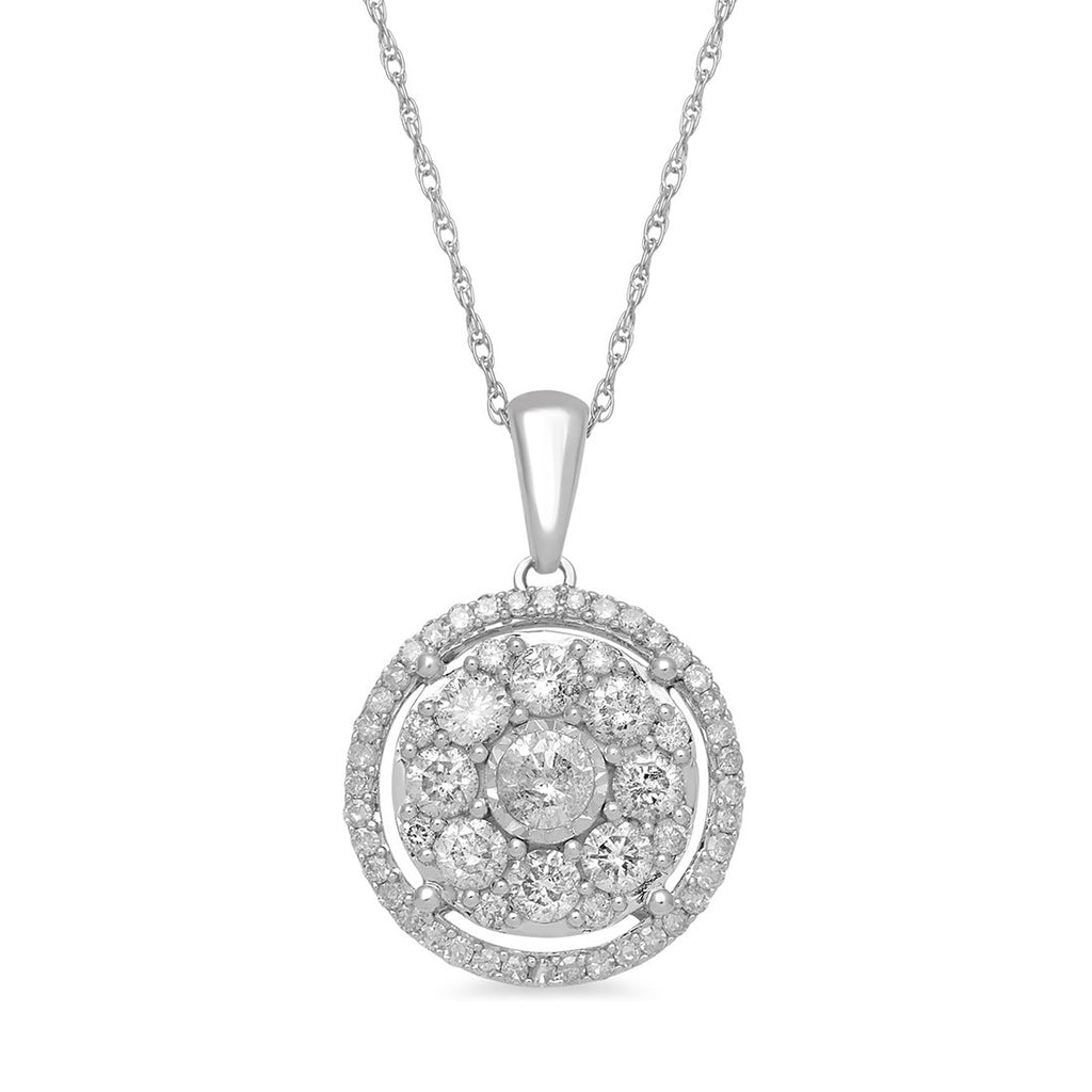 Brilliant Solitaire Halo Round Necklace with 1.00ct of Diamonds in 9ct White Gold Necklaces Bevilles