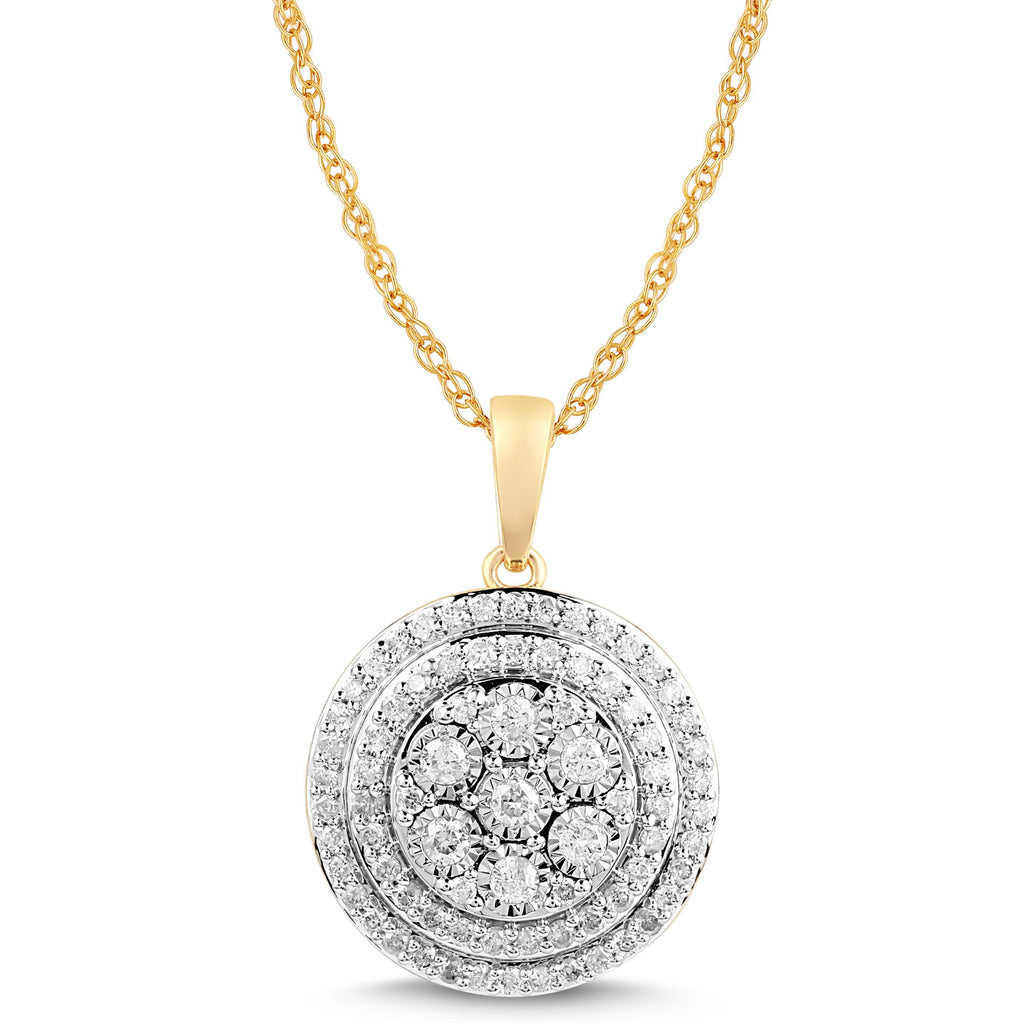 Brilliant Solitaire Halo Round Necklace with 1/2ct of Diamonds in 9ct Yellow Gold Necklaces Bevilles