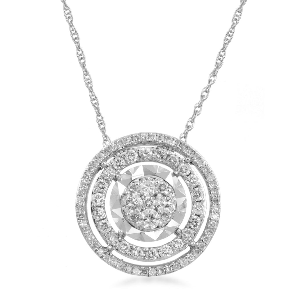 Solitaire Look Double Halo Diamond Necklace in Sterling Silver Necklaces Bevilles