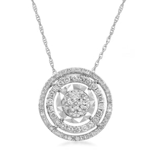 Solitaire Look Double Halo Diamond Necklace in Sterling Silver