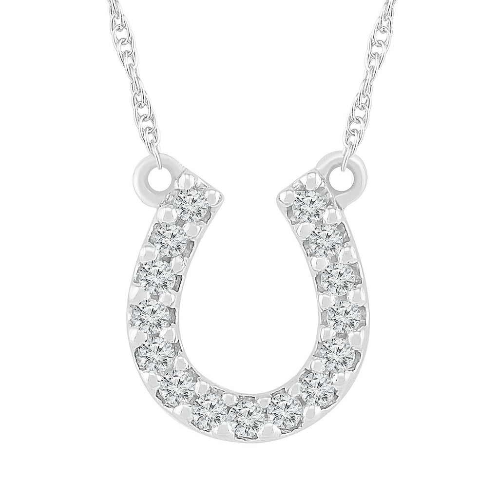 Horseshoe Diamond Necklace in Sterling Silver Necklaces Bevilles
