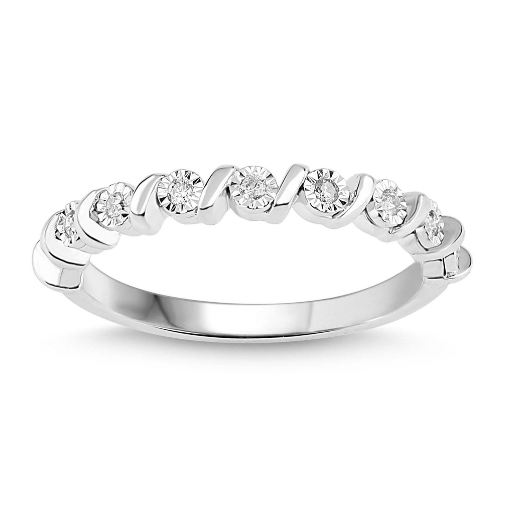 Diamond Swirl Stackable Ring in Sterling Silver Rings Bevilles