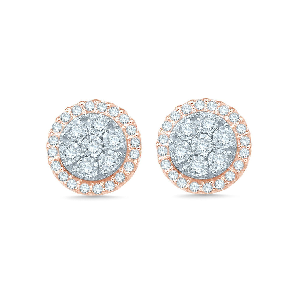 Brilliant Miracle Halo Stud Earrings with 1/2ct of Diamonds in 9ct Rose Gold & Sterling Silver Earrings Bevilles