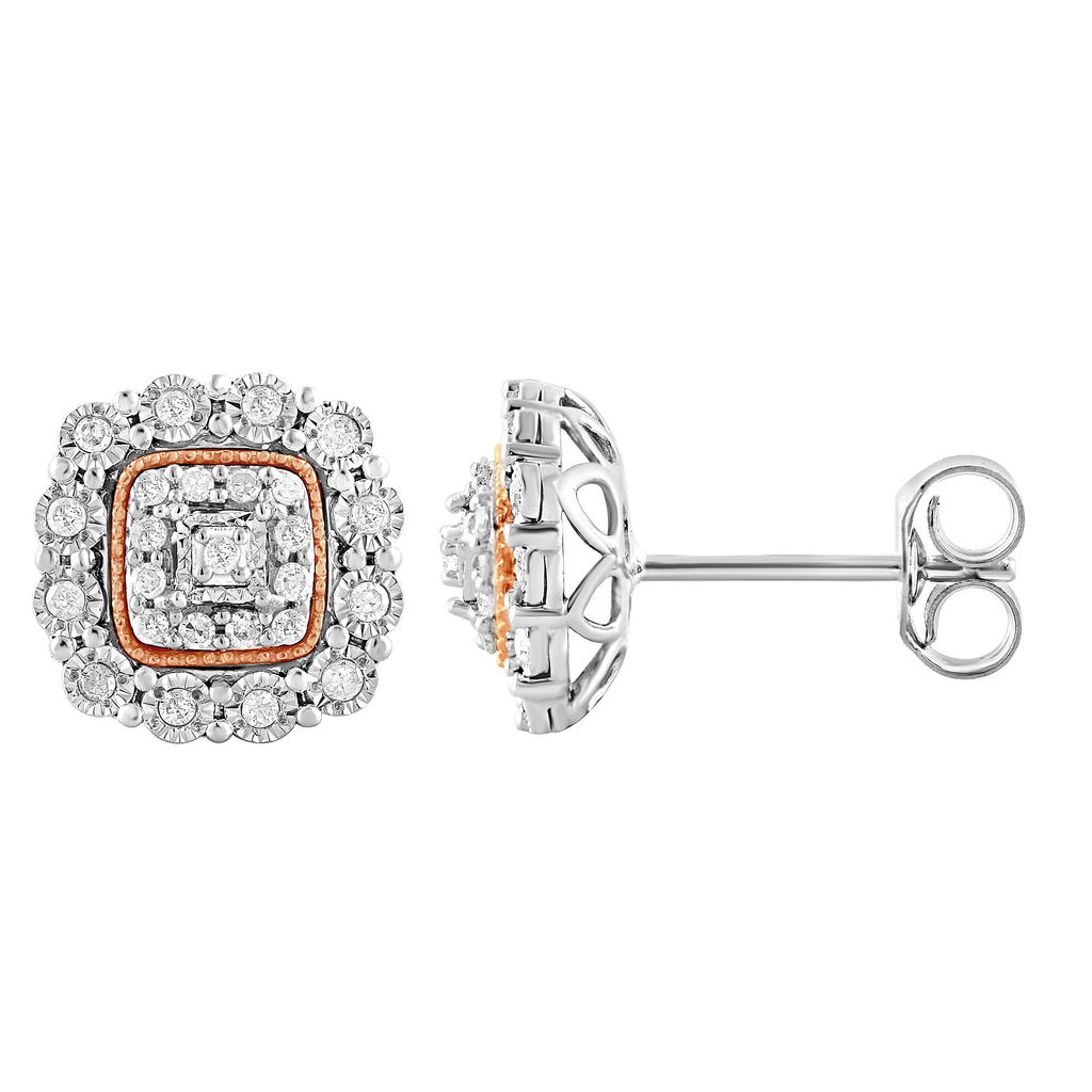 Square Look Miracle Earrings with 1/5ct of Diamonds in Sterling Silver & 9ct Rose Gold Earrings Bevilles