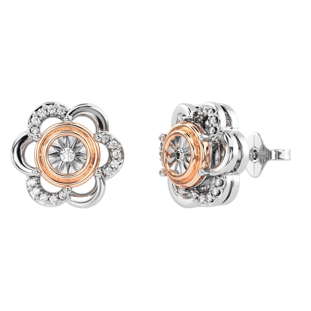 Flower Stud Earrings with 0.10ct of Diamonds in 9ct Rose Gold and Sterling Silver Earrings Bevilles