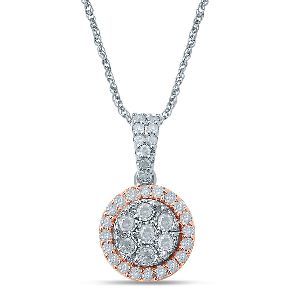 Brilliant Miracle Halo Necklace with 1/2ct of Diamonds in 9ct Rose Gold & Sterling Silver Necklaces Bevilles