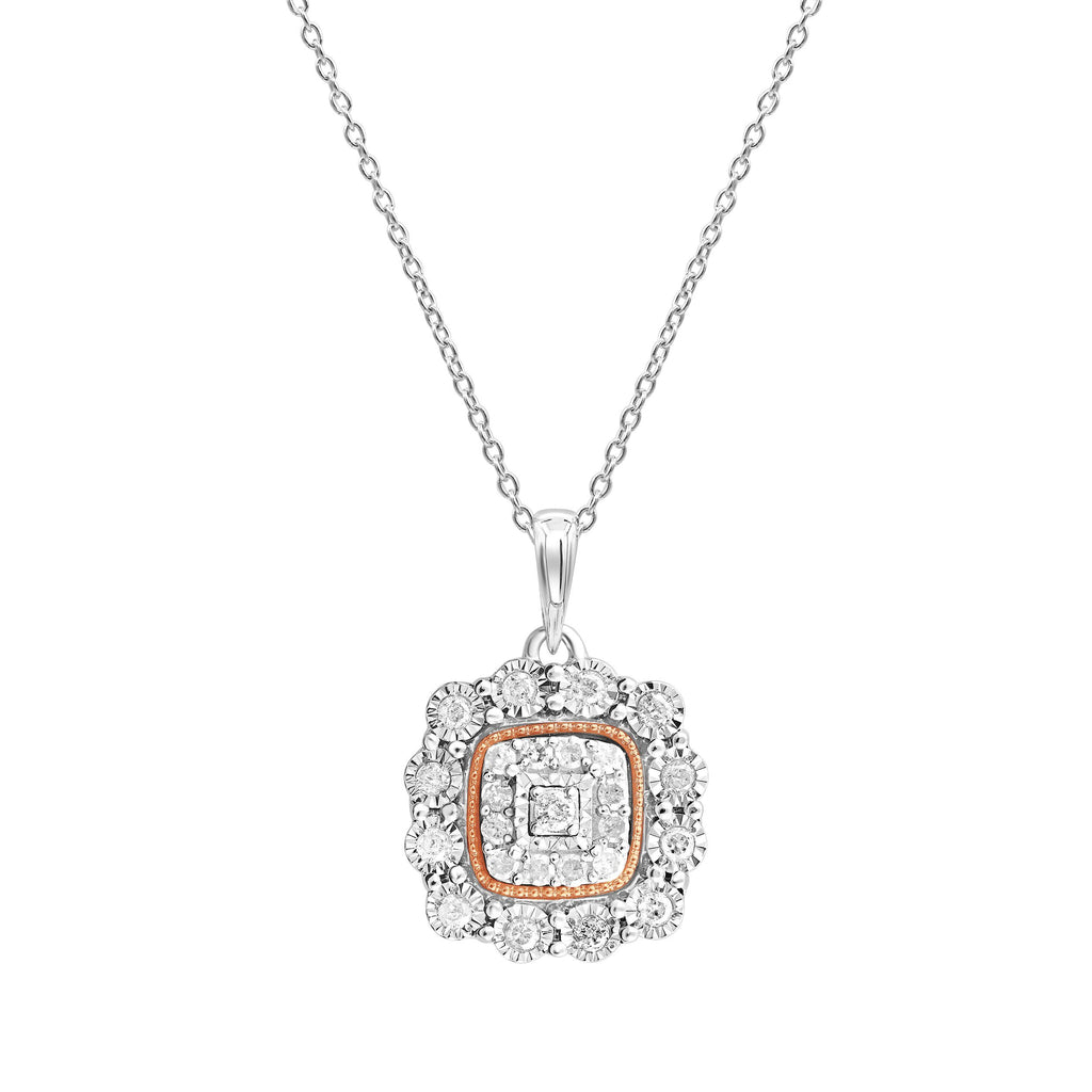 Square Look Miracle Necklace with 1/5ct of Diamonds in Sterling Silver & 9ct Rose Gold Necklaces Bevilles