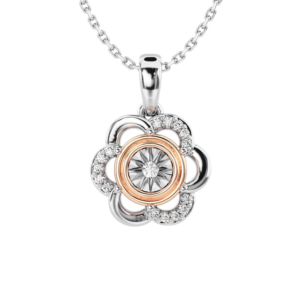 Flower Necklace with 0.05ct of Diamonds in 9ct Rose Gold and Sterling Silver Necklaces Bevilles