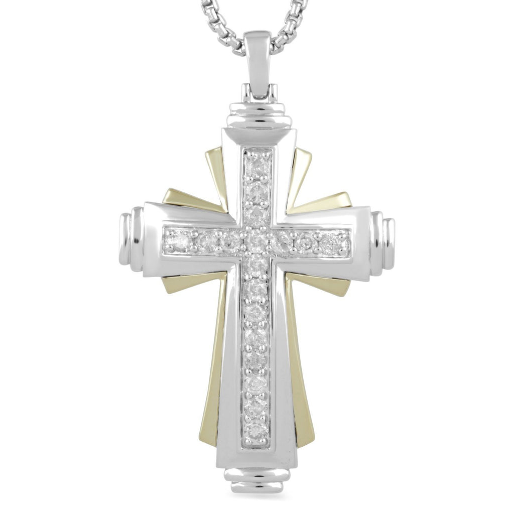 Fancy Cross Necklace with 1.00ct of Diamonds in 9ct Yellow Gold and Sterling Silver Necklaces Bevilles
