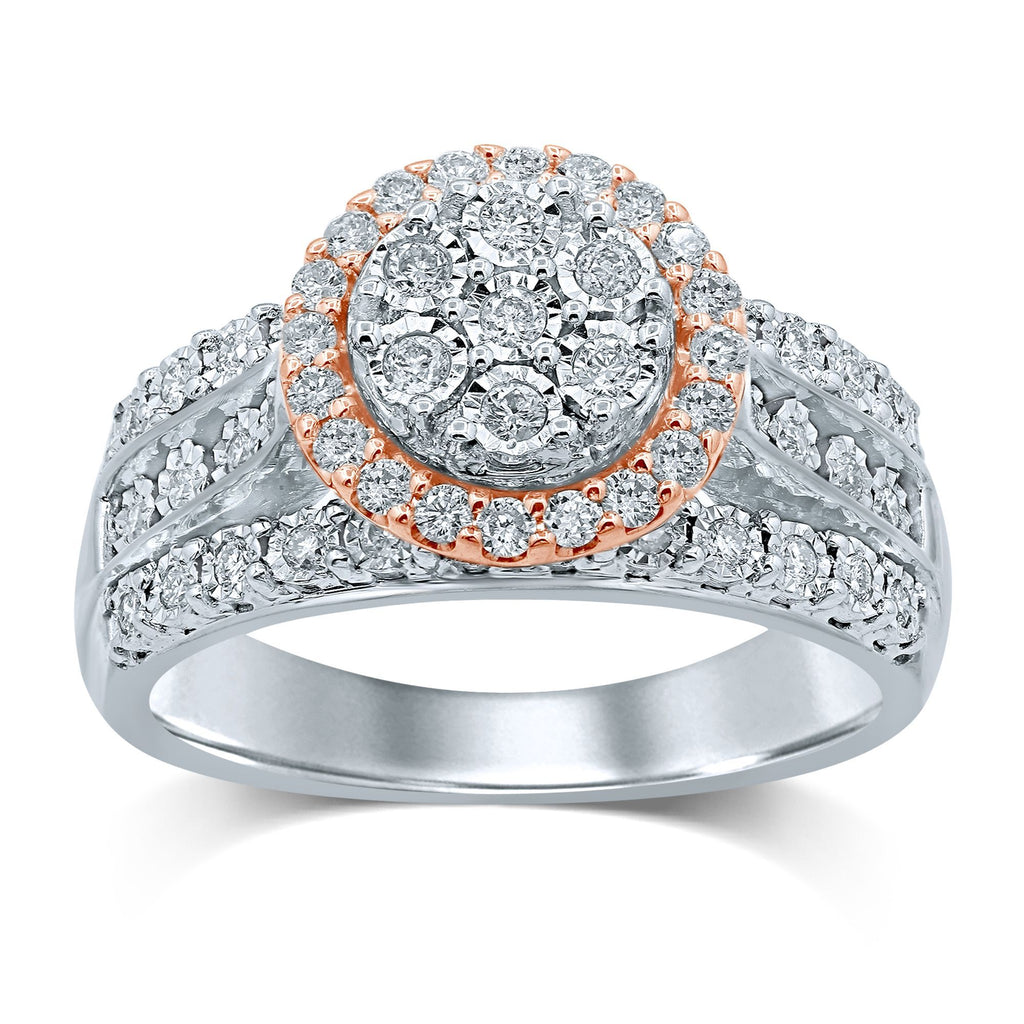 Brilliant Miracle Halo Ring with 1/2ct of Diamonds in 9ct Rose Gold & Sterling Silver Rings Bevilles