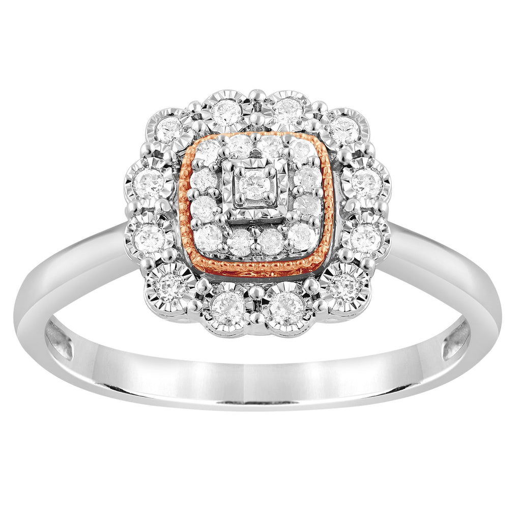 Square Look Miracle Ring with 1/5ct of Diamonds in Sterling Silver & 9ct Rose Gold Rings Bevilles