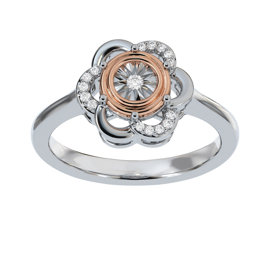 Flower Ring with 0.05ct of Diamonds in 9ct Rose Gold and Sterling Silver Rings Bevilles