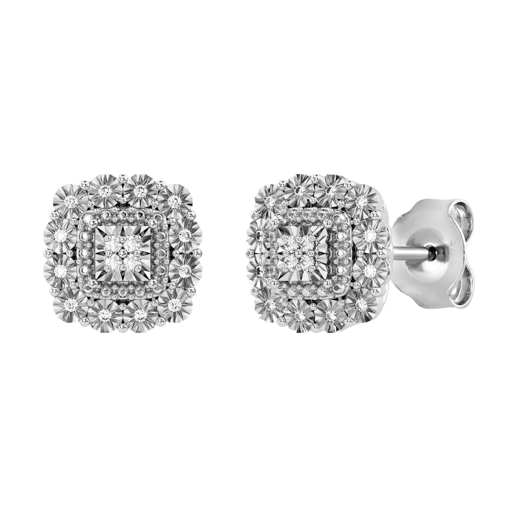 Mirage Square Shape Halo Stud Earrings with 0.10ct of Diamonds in Sterling Silver Earrings Bevilles