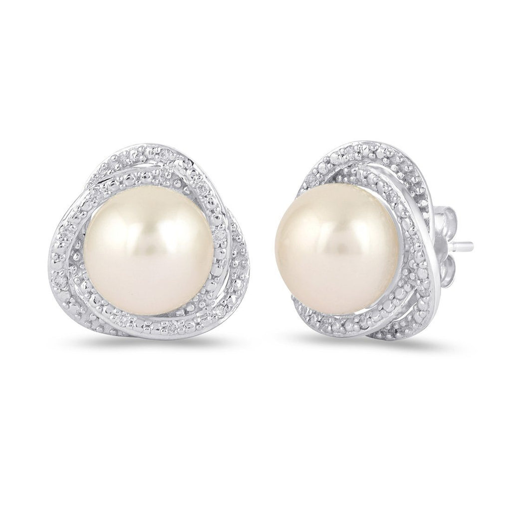 Mirage Fancy Surround Pearl Earrings with 0.10ct of Diamonds in Sterling Silver Earrings Bevilles
