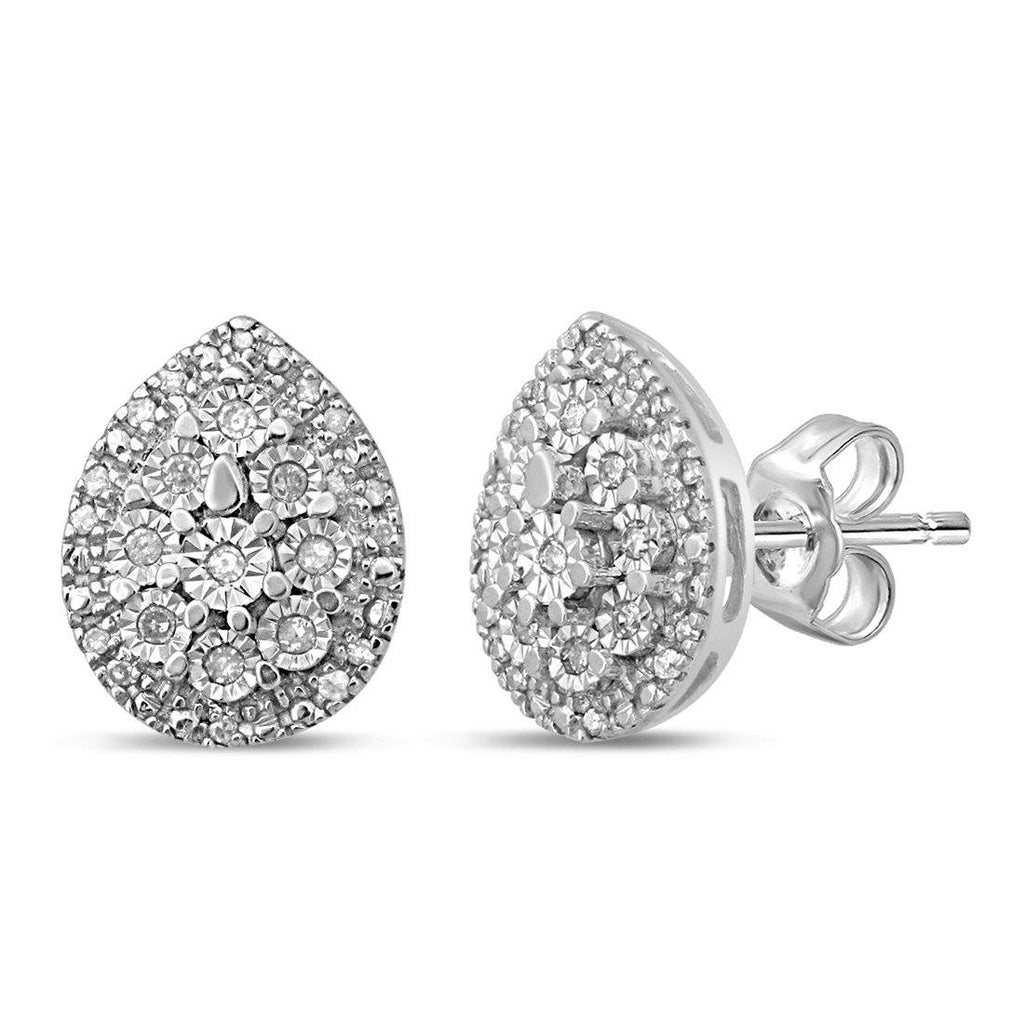 Sterling Silver Pear Shaped Earrings with 0.15ct of Diamonds Earrings Bevilles