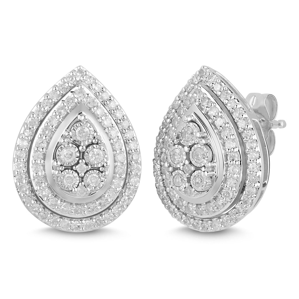 Miracle Halo Pear Stud Earrings with 1/2ct of Diamonds in Sterling Silver