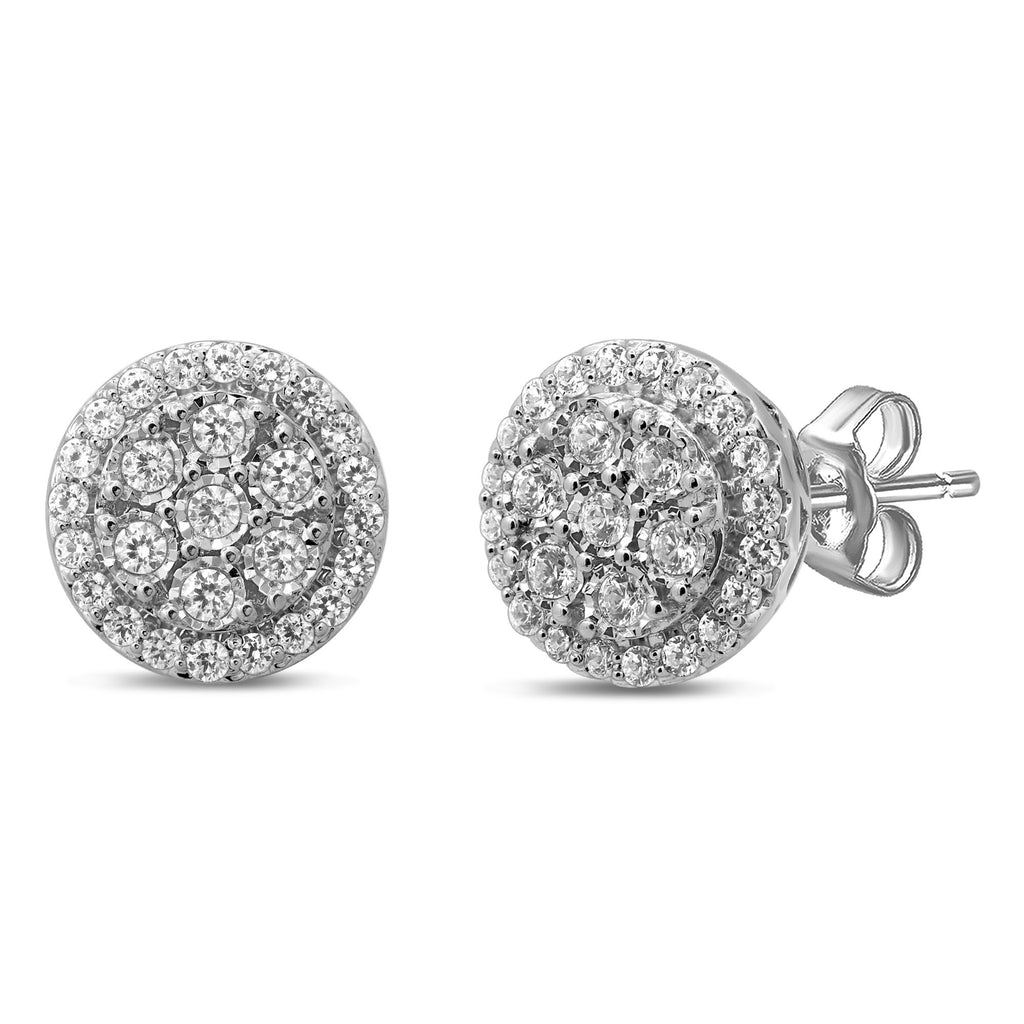 Miracle Halo 3/4ct of Diamonds Earrings in Sterling Silver Earrings Bevilles