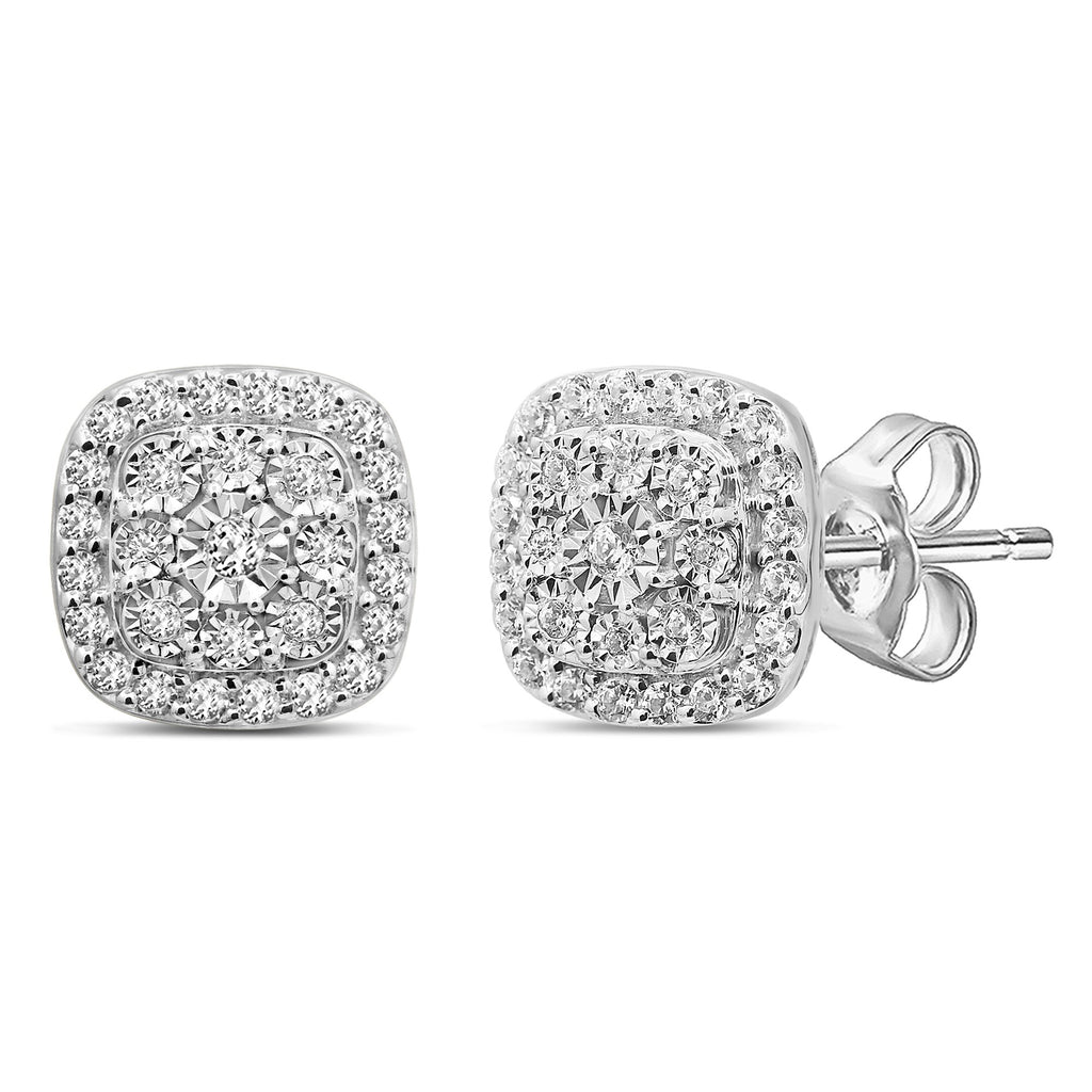 Soft Square Look Halo Stud Earrings with 1/2ct of Diamonds in Sterling Silver Earrings Bevilles