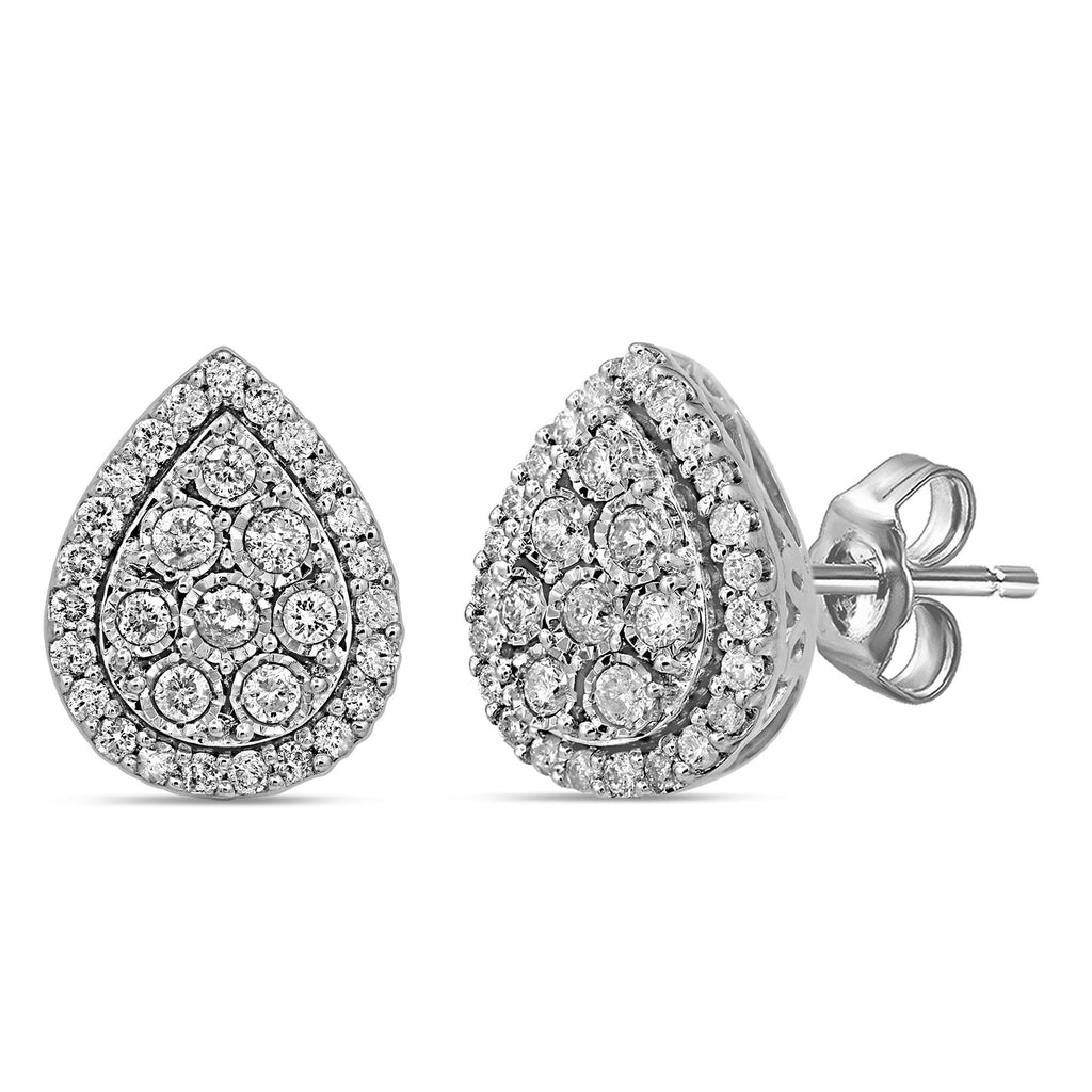 Brilliant Miracle Pear Stud Earrings with 1.00ct of Diamonds in Sterling Silver Earrings Bevilles