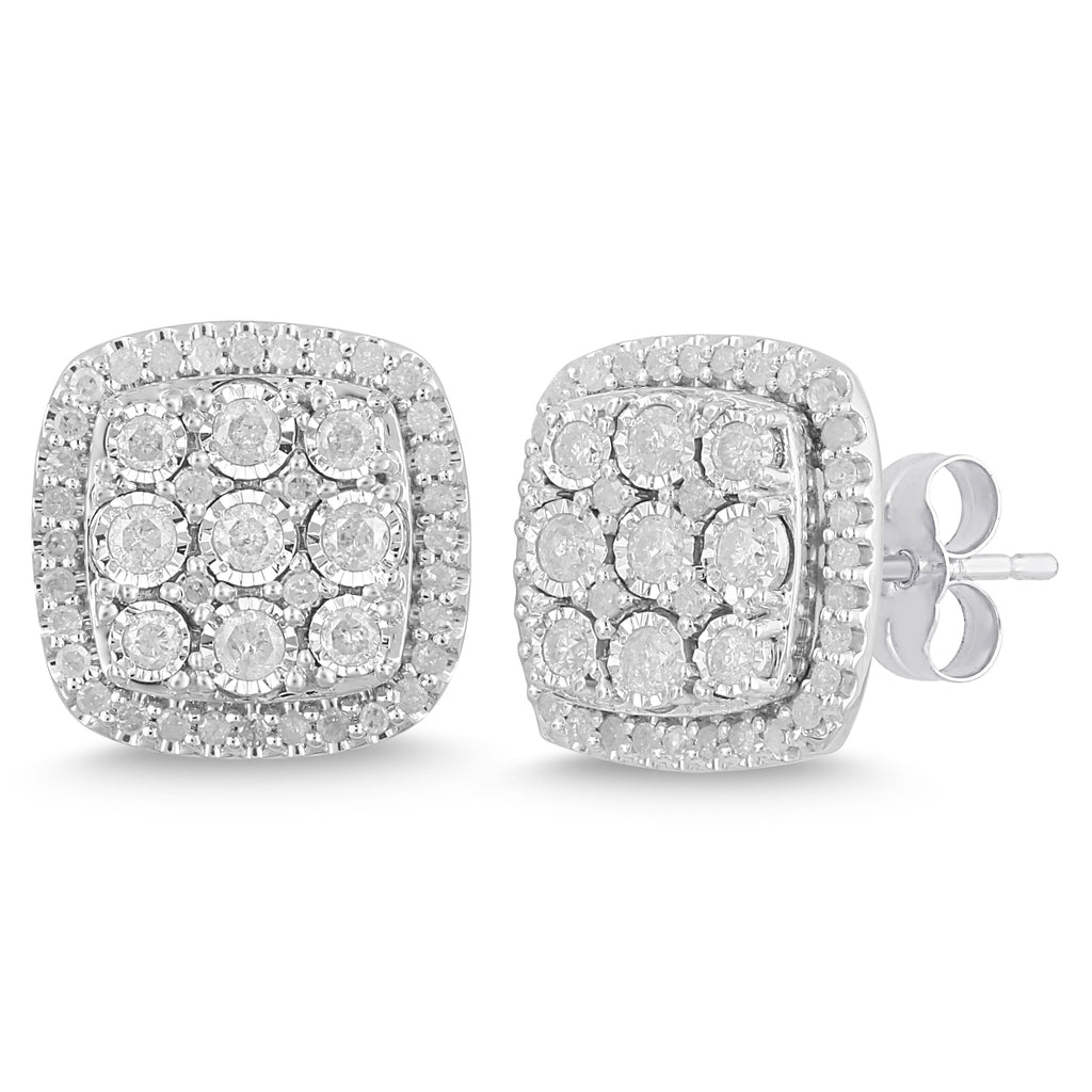 Miracle Halo Square Stud Earrings with 1.00ct of Diamonds in Sterling Silver Earrings Bevilles