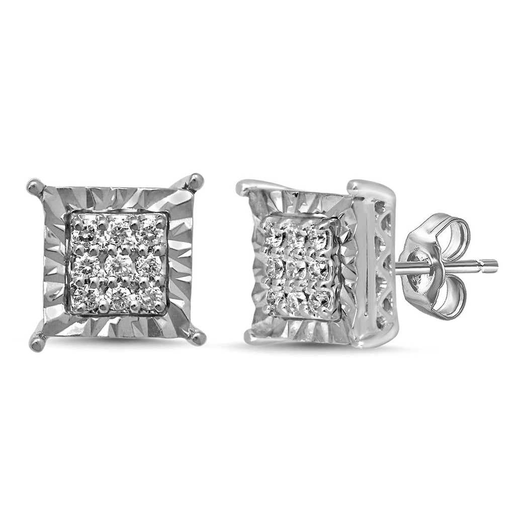 Brilliant Miracle Stud Earrings with 0.10ct of Diamonds in Sterling Silver Earrings Bevilles