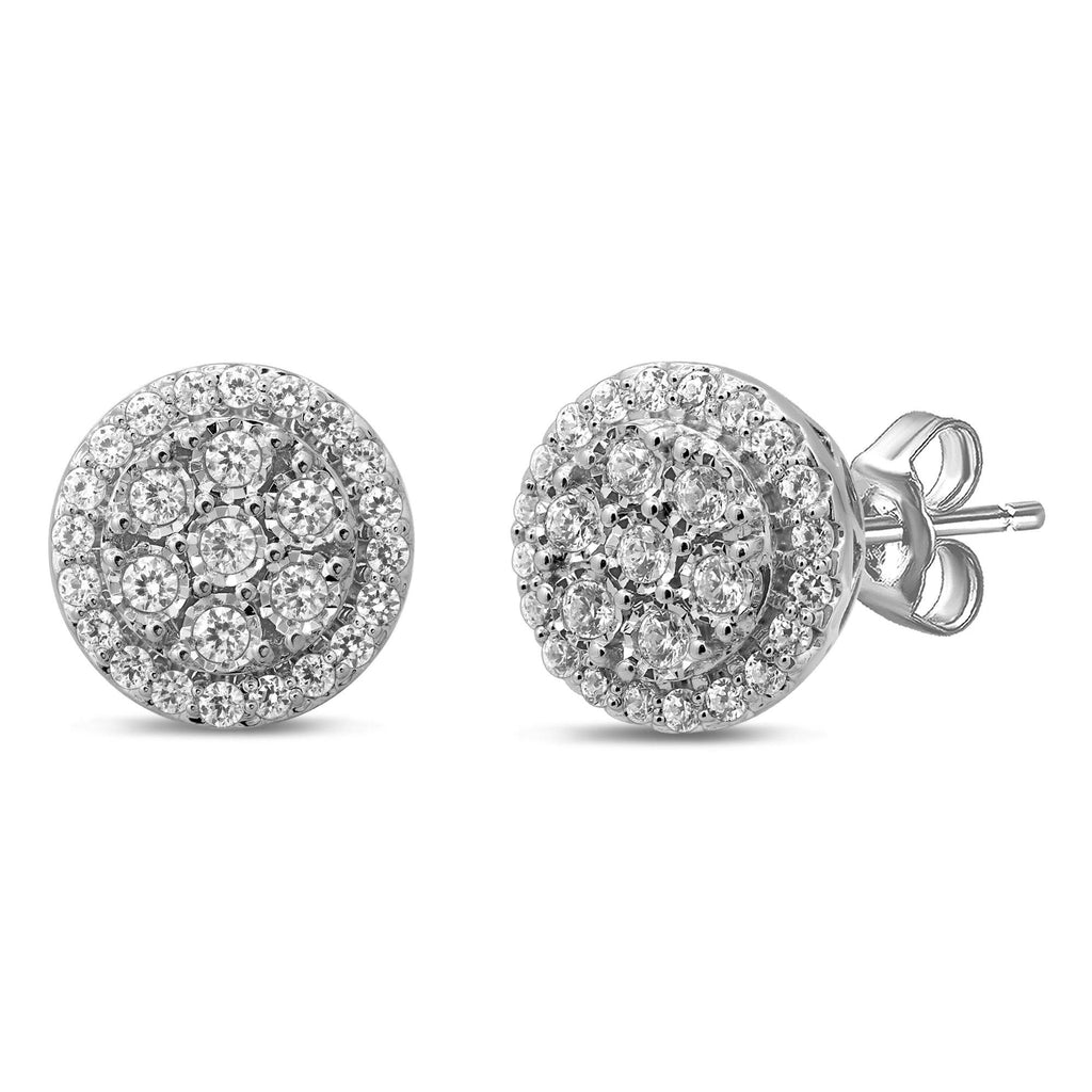 Brilliant Miracle Round Earrings with 1.00ct of Diamonds in Sterling Silver Earrings Bevilles