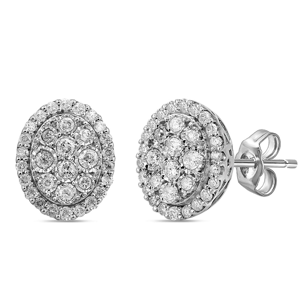 Brilliant Illusion Halo Stud Earrings with 1.00ct of Diamonds in Sterling Silver Earrings Bevilles