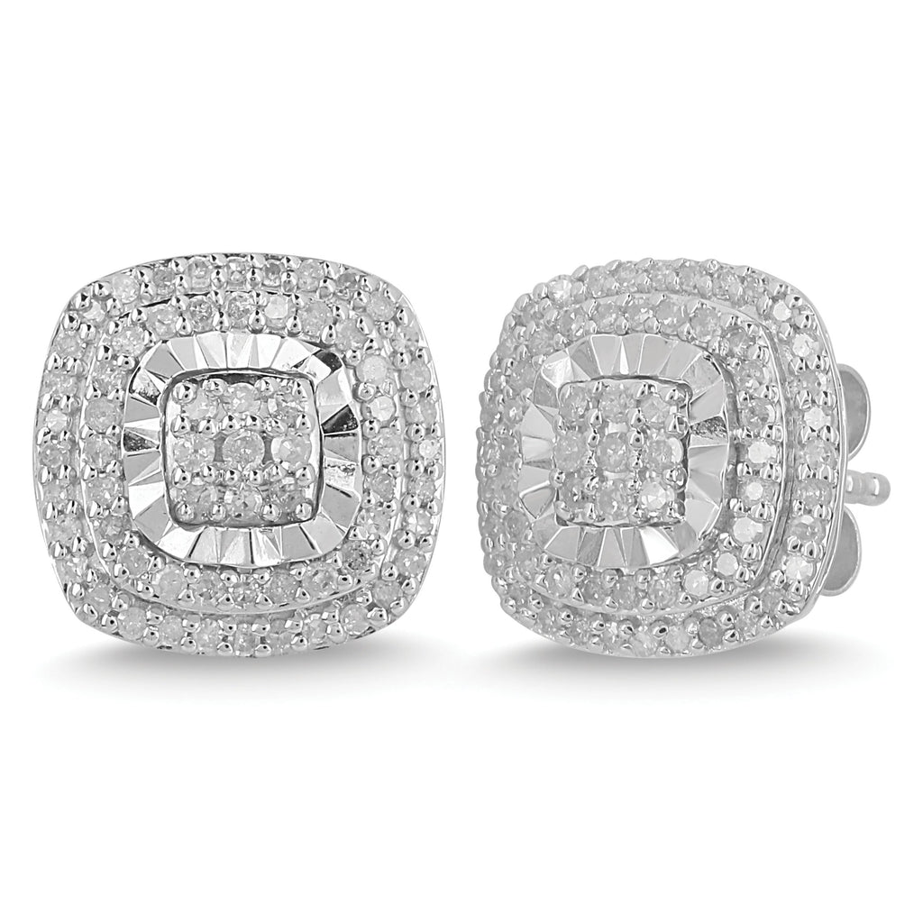 Brilliant Halo Stud Earrings with 1/2ct of Diamonds in Sterling Silver Earrings Bevilles