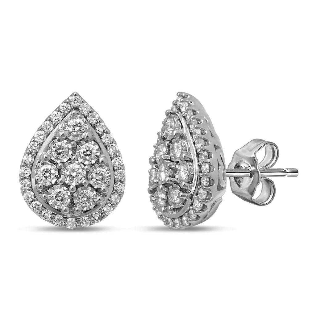 Brilliant Miracle Halo Pear Earrings with 1.00ct of Diamonds in Sterling Silver Earrings Bevilles