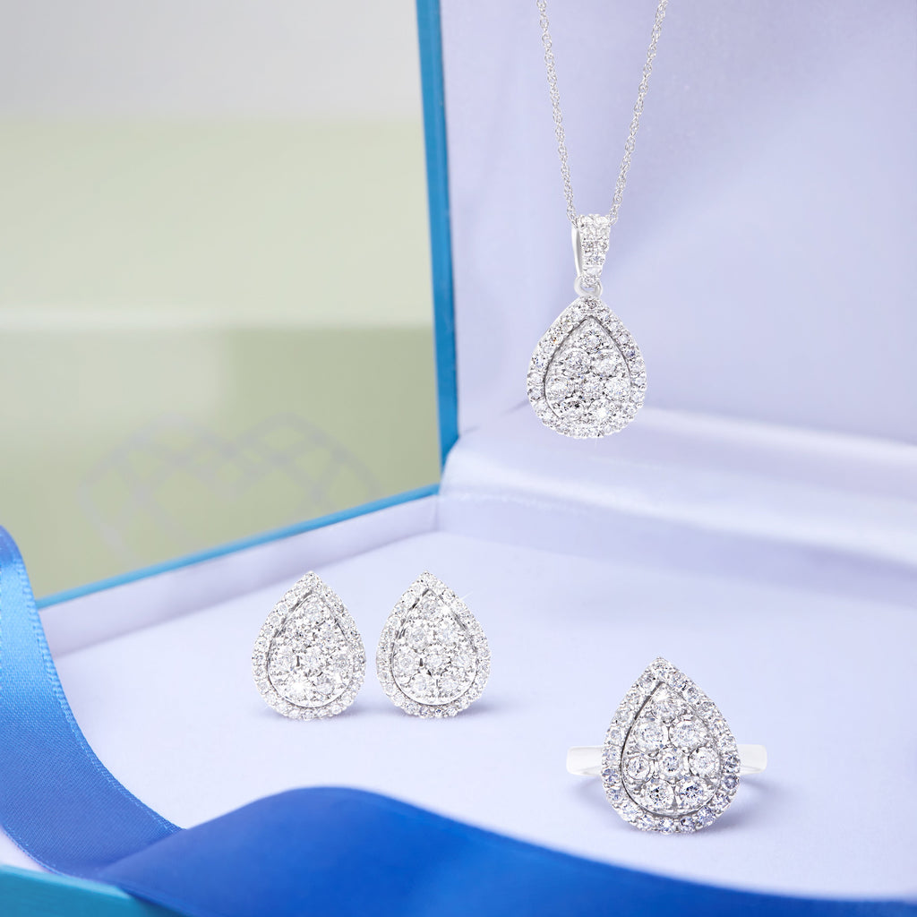 Brilliant Miracle Halo Pear Necklace with 1.00ct of Diamonds in Sterling Silver Necklaces Bevilles