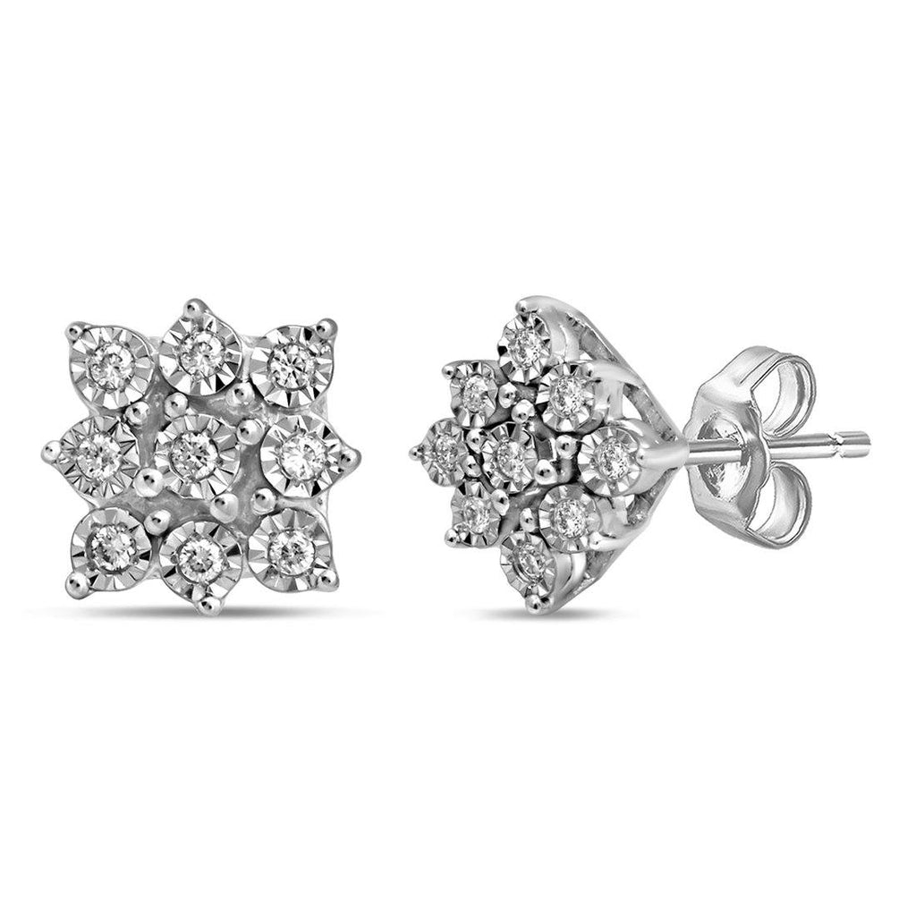 Sterling Silver Miracle 0.05ct Diamond Stud Earrings Earrings Bevilles