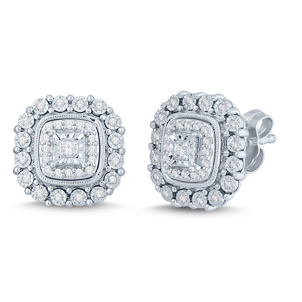 Brilliant Square Milgrain Stud Earrings with 1/5ct of Diamonds in Sterling Silver