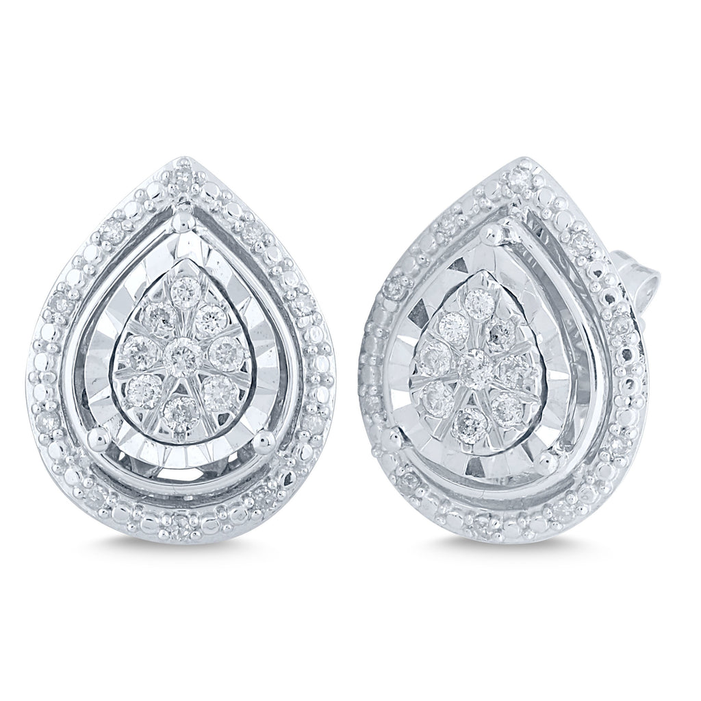 Miracle Halo Pear Earrings with 0.25ct of Diamonds in Sterling Silver Earrings Bevilles