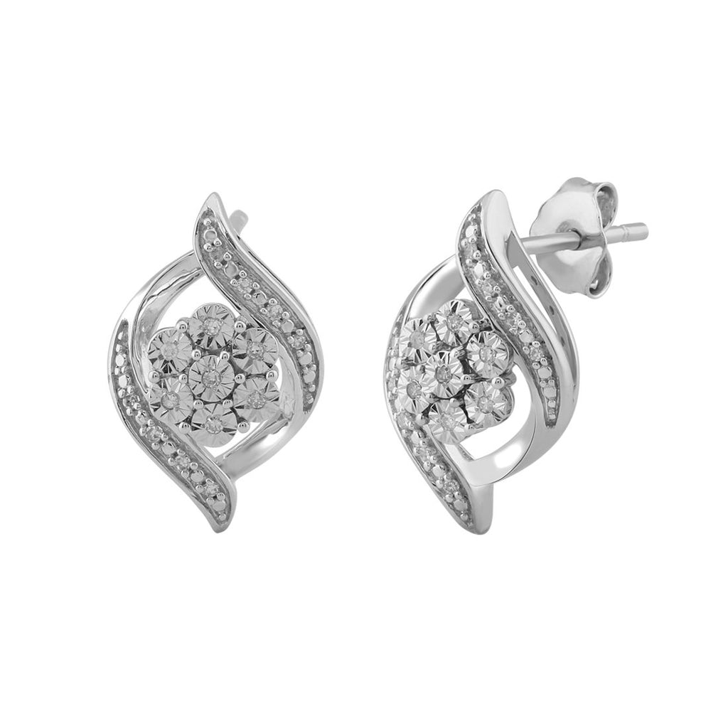 Brilliant Illusion Diamond Flower Stud Earrings in Sterling Silver