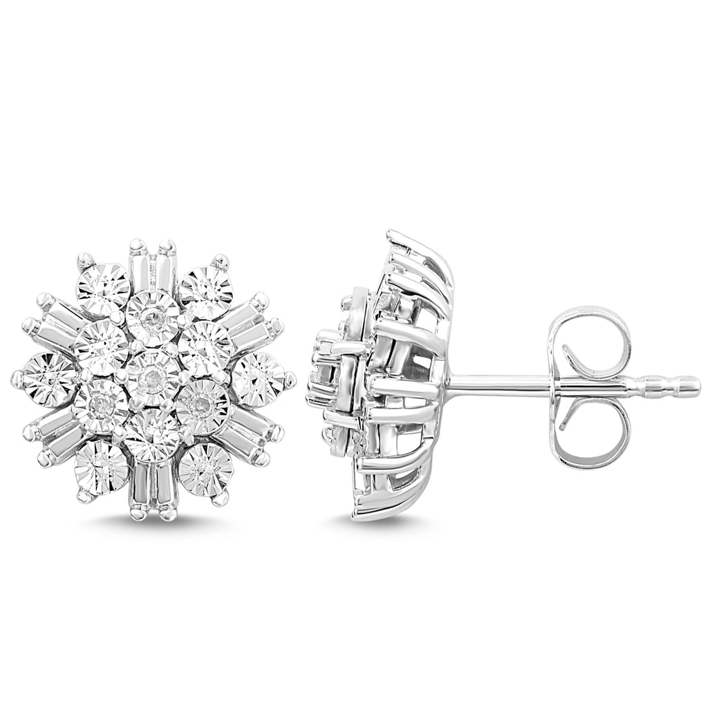 Brilliant Baguette Look Diamond Cluster Earrings in Sterling Silver Earrings Bevilles