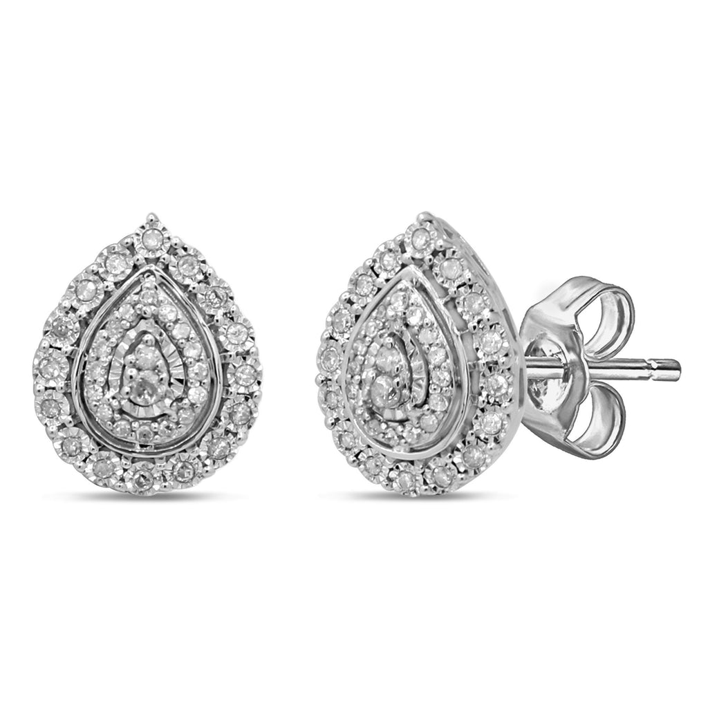 Brilliant Miracle Pear Halo Earrings with 1/5ct of Diamonds in Sterling Silver Earrings Bevilles