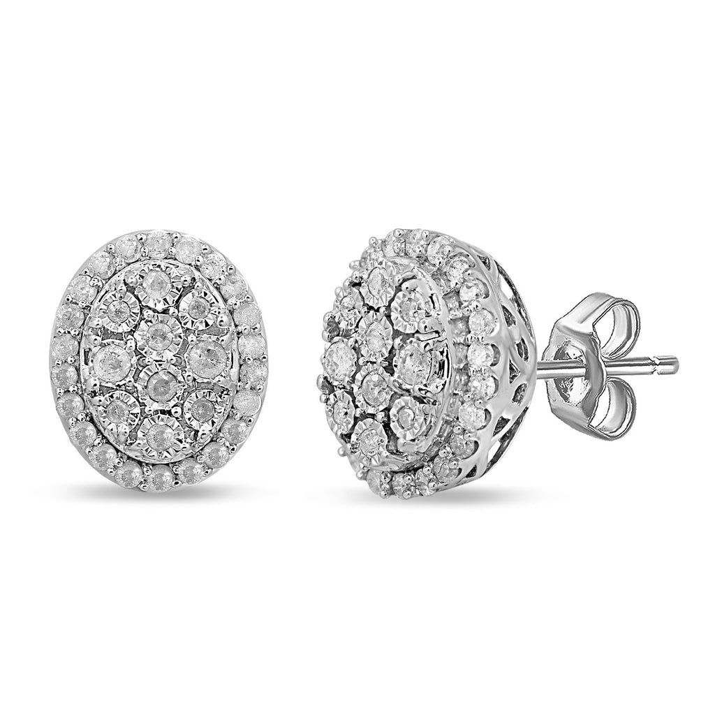 Brilliant Miracle Halo Oval Stud Earrings with 1/2ct of Diamonds in Sterling Silver Earrings Bevilles