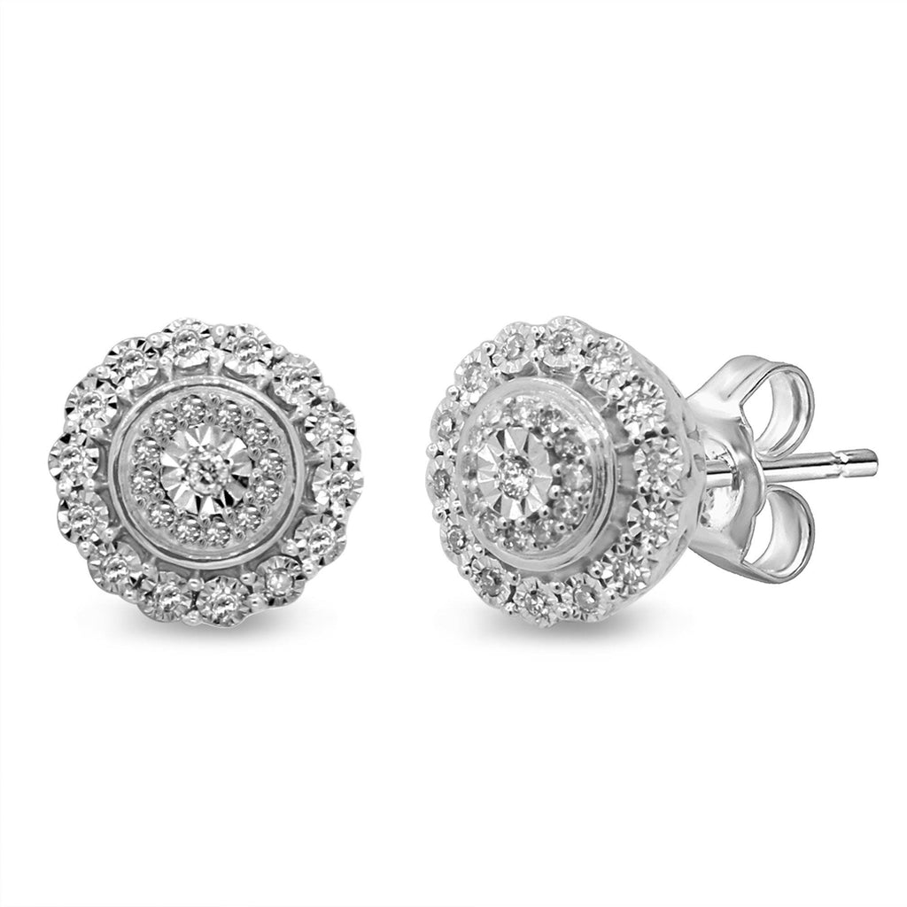 Brilliant Miracle Double Halo Earrings with 1/5ct of Diamonds in Sterling Silver Earrings Bevilles