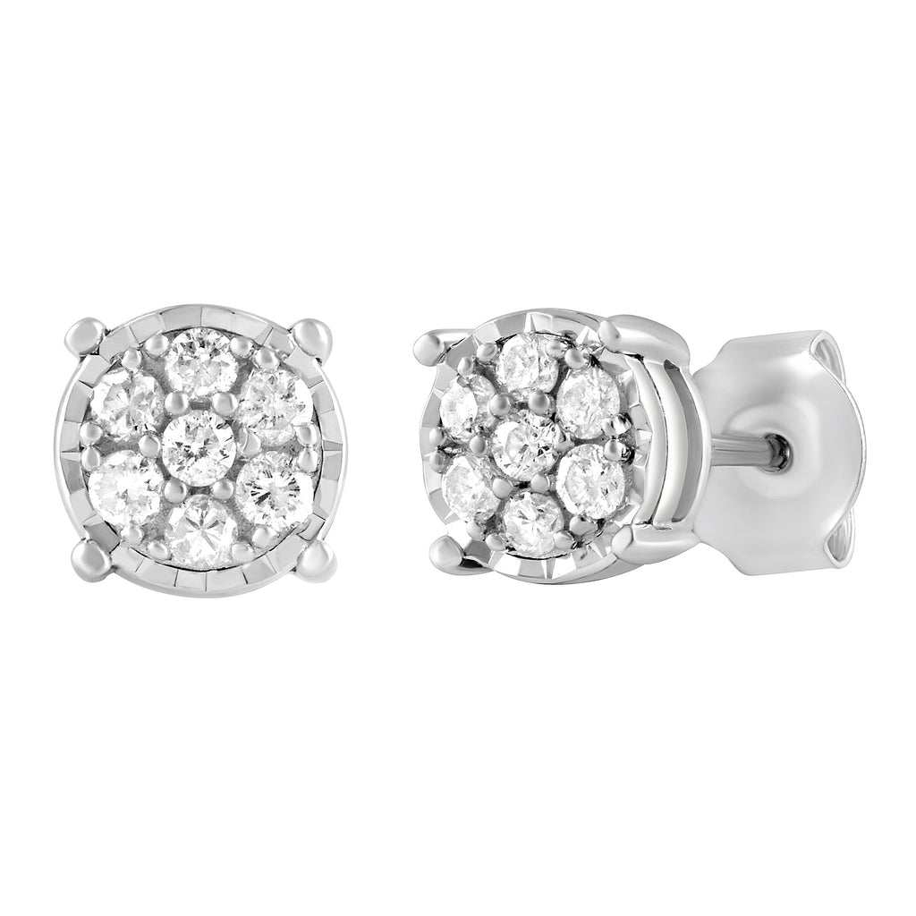 Miracle Halo Composite Earrings with 0.25ct of Diamonds in Sterling Silver Earrings Bevilles