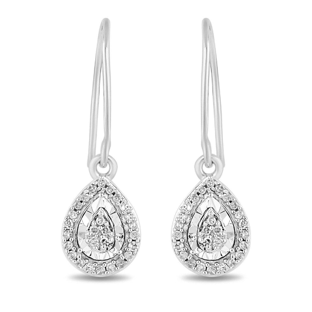 Brilliant Miracle Pear Halo Drop Earrings with 0.15 of Diamonds in Sterling Silver Earrings Bevilles