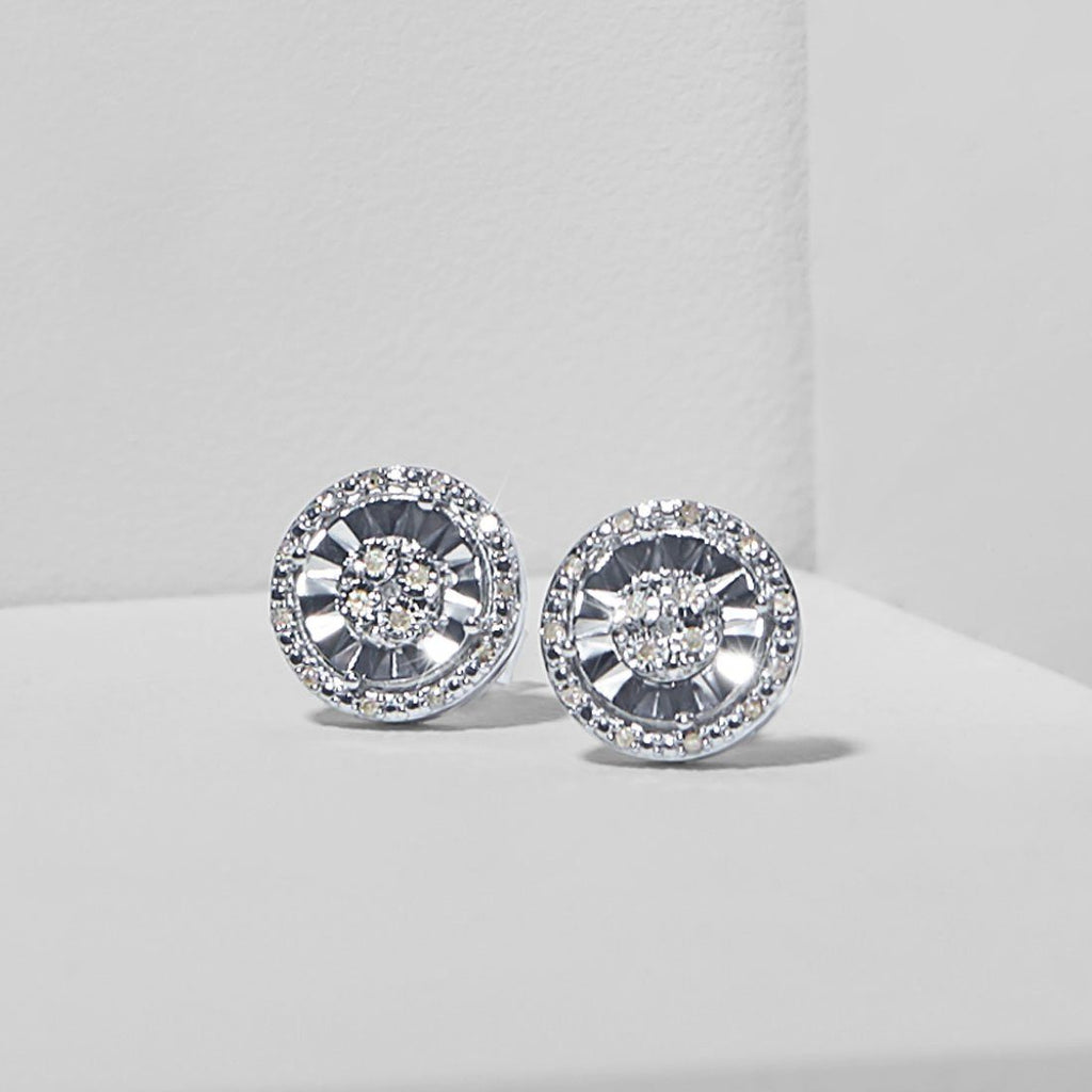 Halo Stud Earrings with 0.10ct of Diamonds in Sterling Silver Earrings Bevilles