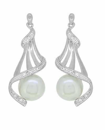 Pearl Diamond Set Drop Earrings in Sterling Silver Earrings Bevilles