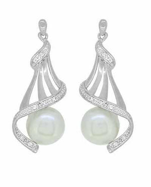 Pearl Diamond Set Drop Earrings in Sterling Silver